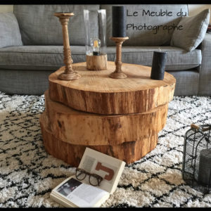 table basse tronc d 39 arbre sur roulettes le meuble du photographe. Black Bedroom Furniture Sets. Home Design Ideas