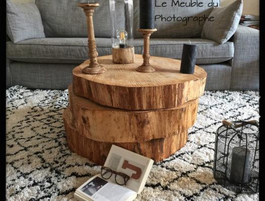 3 rondins superposés pour une table basse