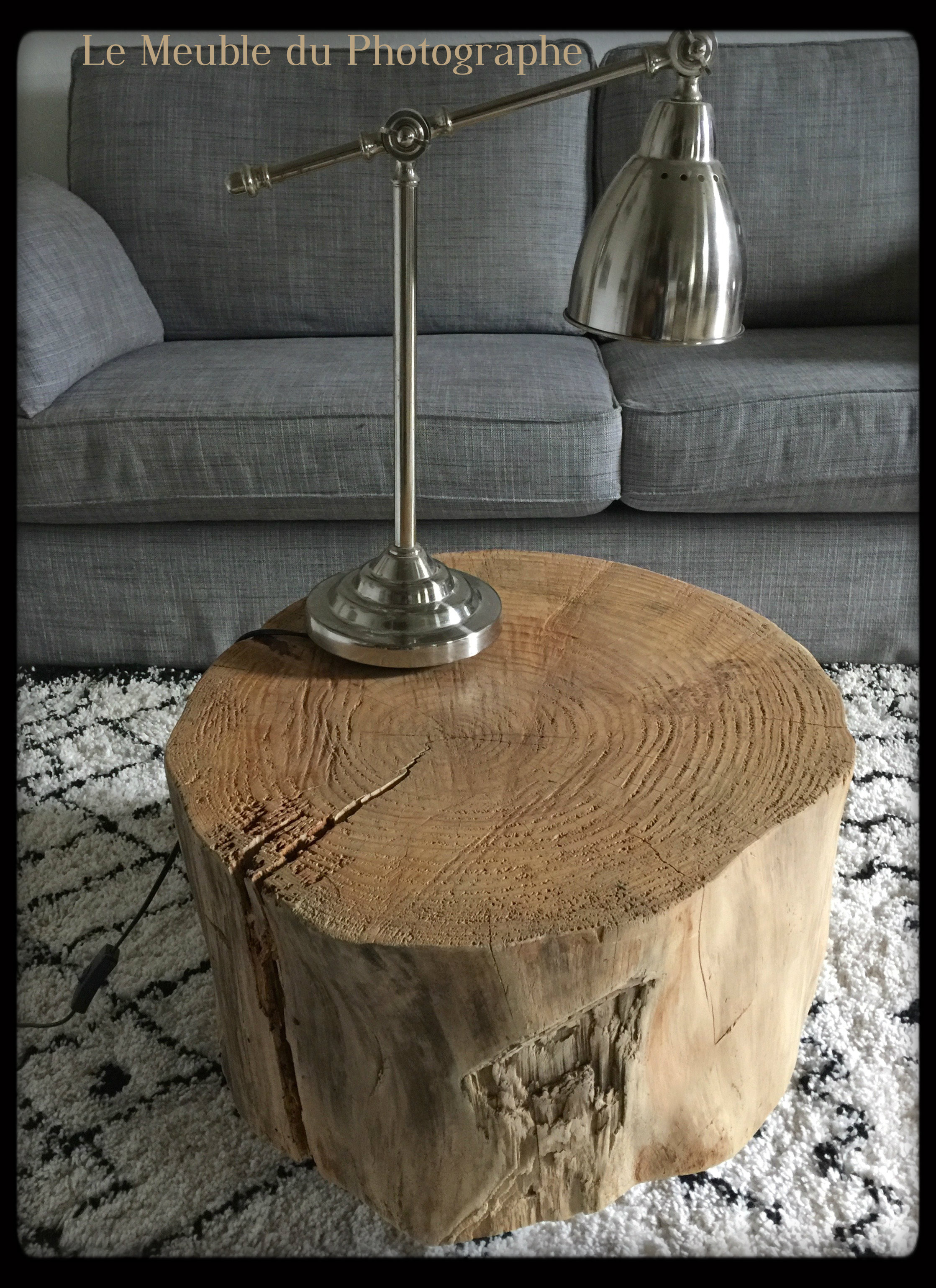 Table basse tronc d 39 arbre sur roulettes le meuble du for Le meuble du photographe