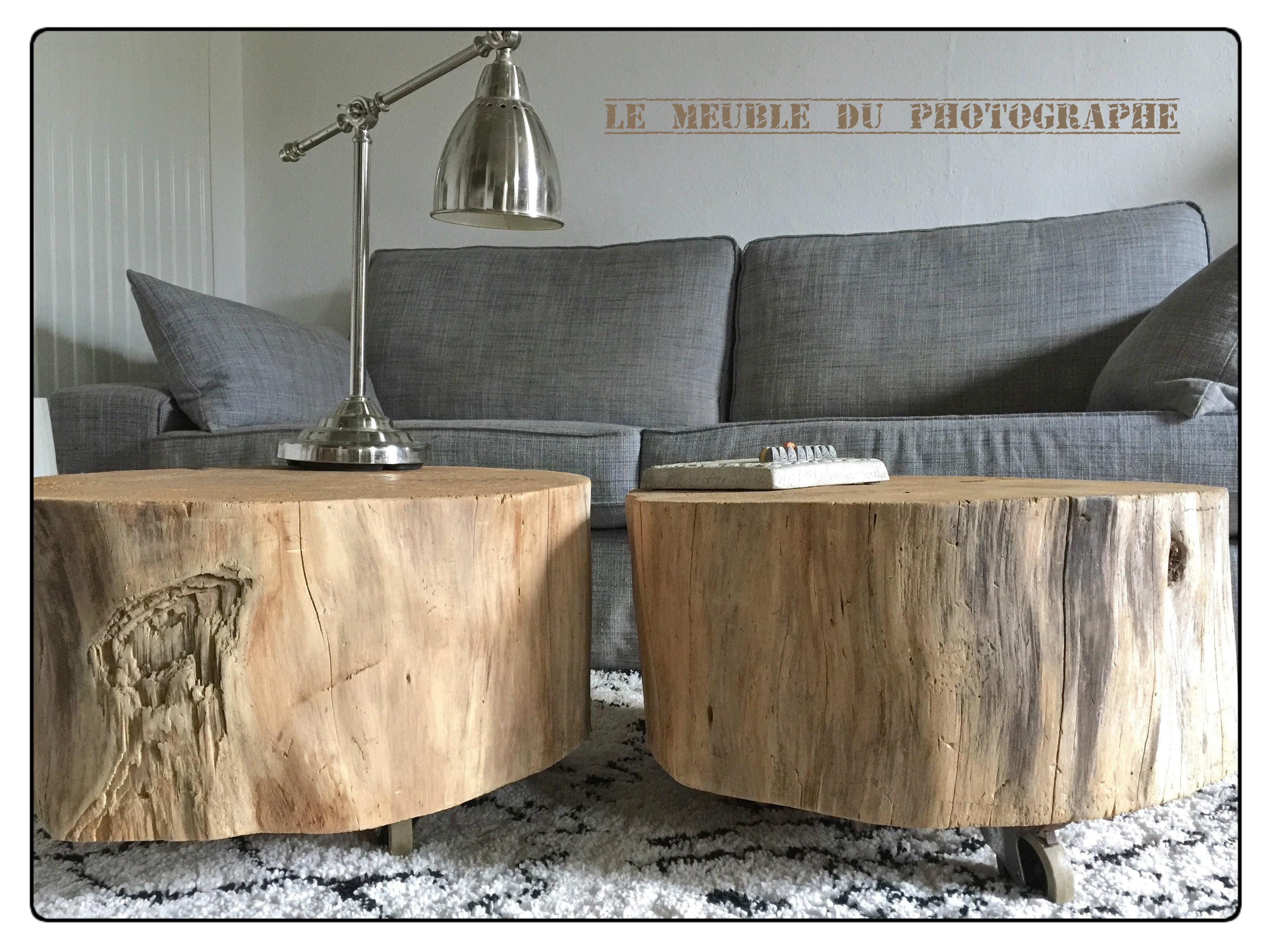 table basse tronc d 39 arbre sur roulettes le meuble du. Black Bedroom Furniture Sets. Home Design Ideas