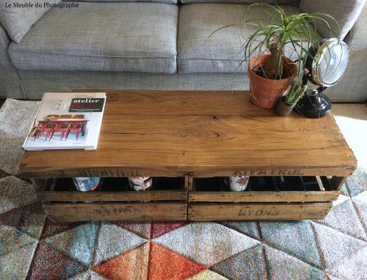 table récup caisse en bois par Le Meuble du Photographe