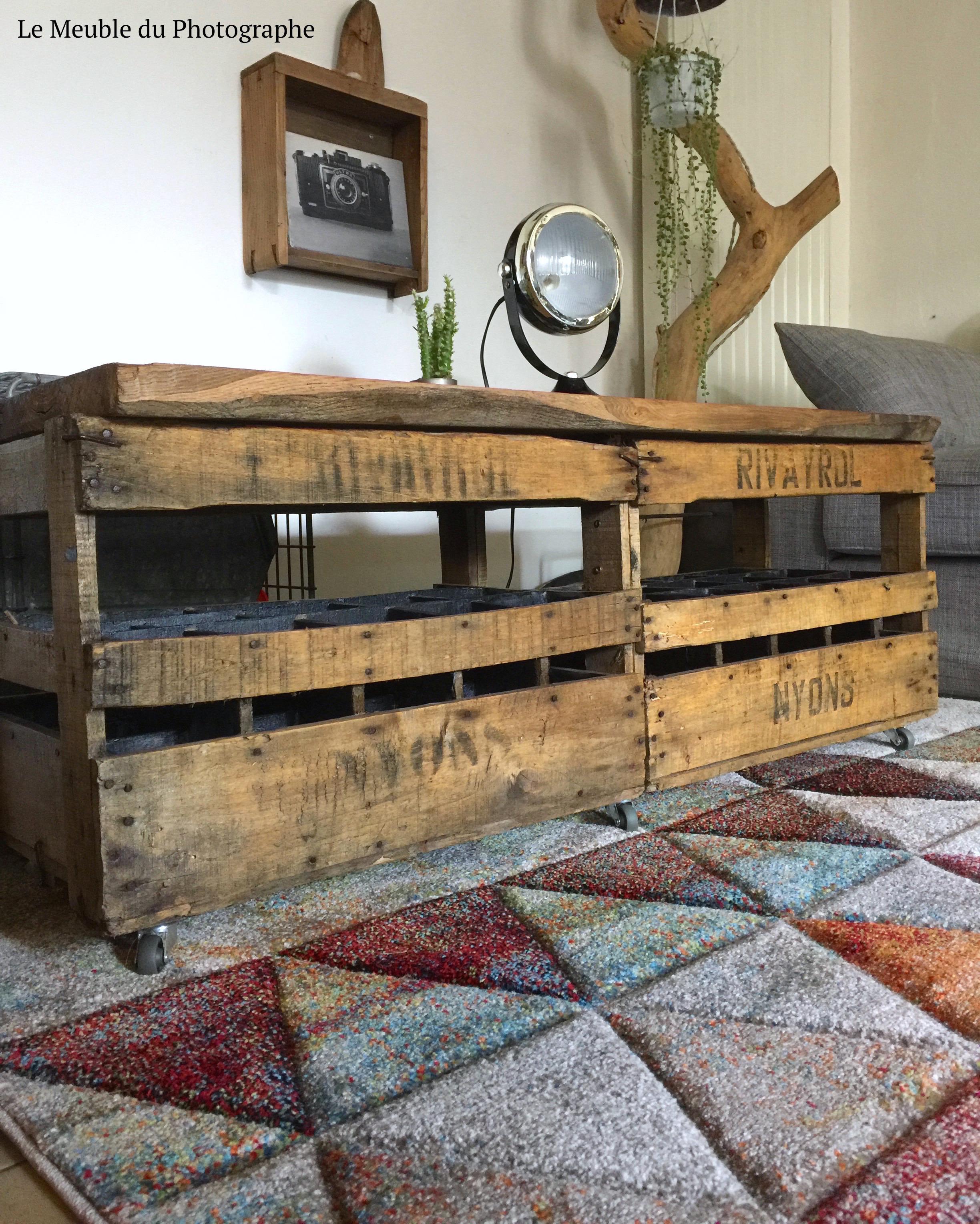 Table basse banc caisses en bois le meuble du photographe - Table basse caisse a pomme ...