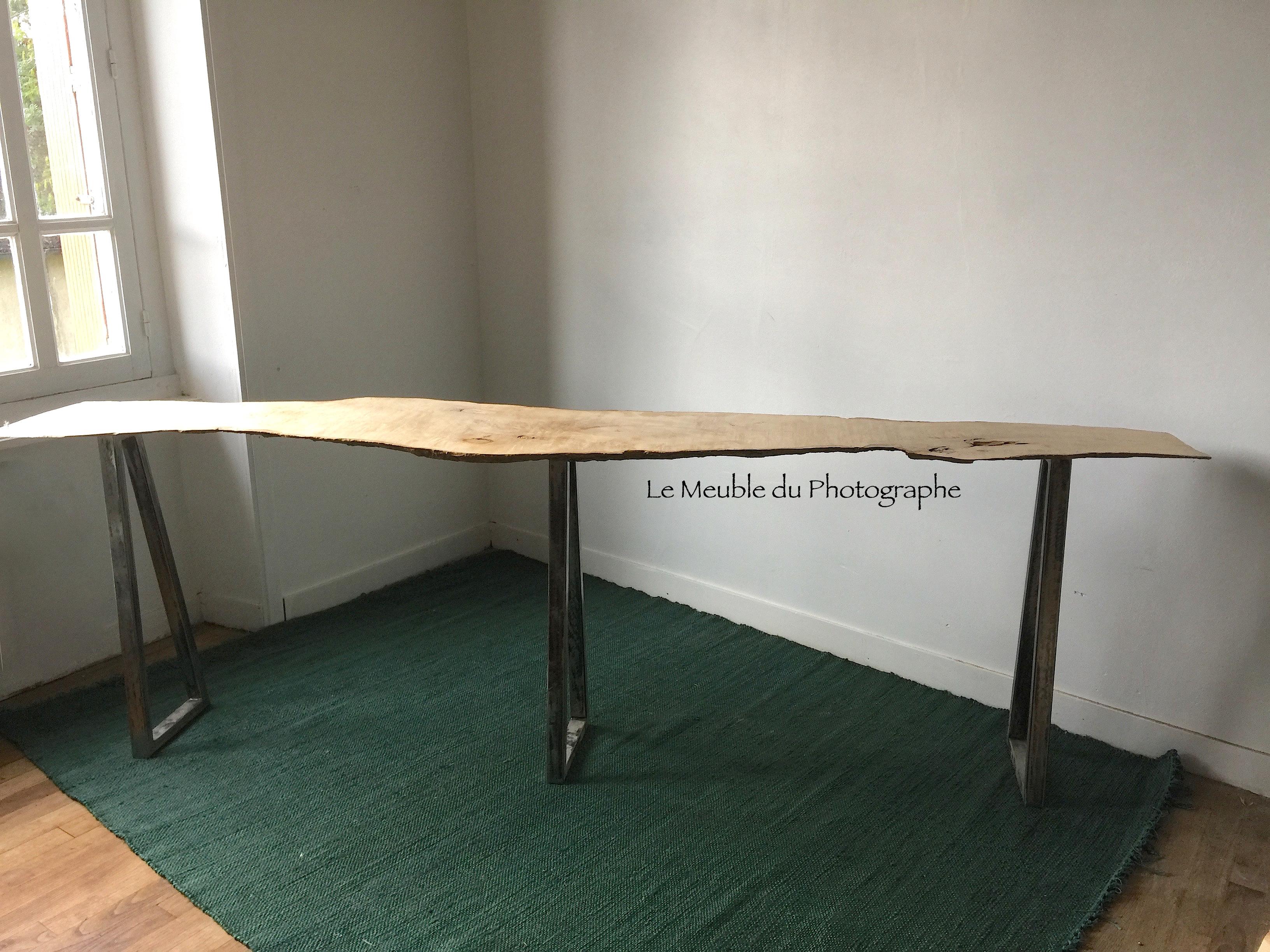 console 2m40 planche d 39 arbre sur pieds m tal le meuble du photographe. Black Bedroom Furniture Sets. Home Design Ideas