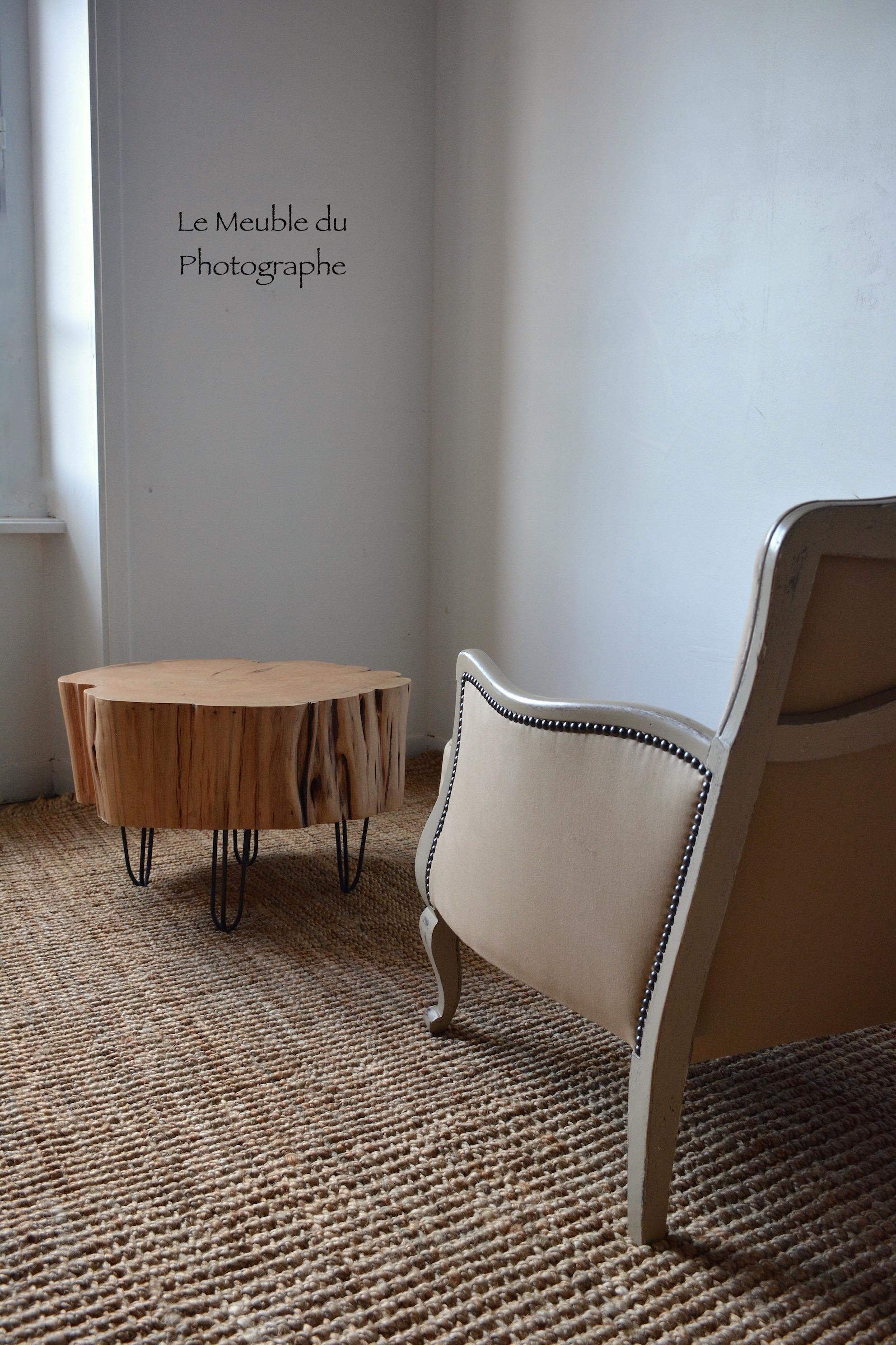 table basse rondin 60cm diam tre sur hairpin legs le meuble du photographe. Black Bedroom Furniture Sets. Home Design Ideas